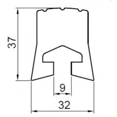 Tampon cauciuc de lungime  2500 mm cu sectiune de 36 x 36 mm