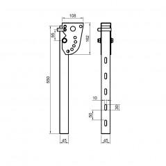 Suport otel zincat reglabil 590 mm
