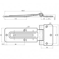 Balama zincata cu cot pentru usa laterala de 242 mm